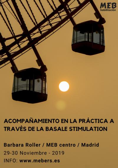un cartel sobre el curso que se celebrará en Noviembre sobre caompañamiento en la práctica a través de la estimulación basal